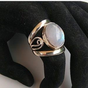 VTG Artisan 925 Silver MoonStone Chunky Ring